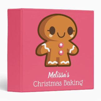Cute Gingerbread Girl Christmas Baking 3 Ring Binders
