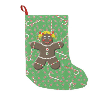 Cute Gingerbread Girl Woman Christmas Candy Canes Small Christmas Stocking