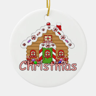 Cute Gingerbread House Ceramic Ornament