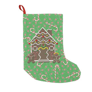 Cute Gingerbread House Christmas Candy Canes Small Christmas Stocking