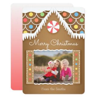 Cute Gingerbread House Christmas Photo Card