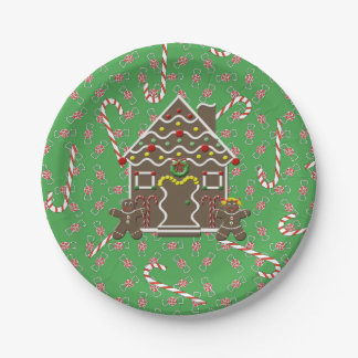 Cute Gingerbread House Gingerbread Couple Paper Plate
