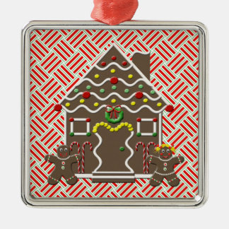 Cute Gingerbread House Gingerbread Man Girl Xmas Silver-Colored Square Ornament