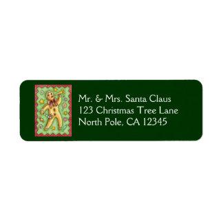Cute Gingerbread Man Blowing Horn, Christmas Candy Return Address Label