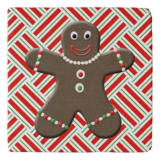 Cute Gingerbread Man Boy Christmas Red White Xmas Trivet