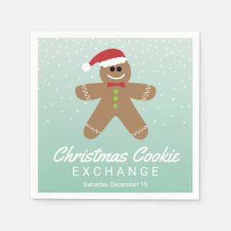 Cute Gingerbread Man Christmas Cookie Exchange Paper Napkin