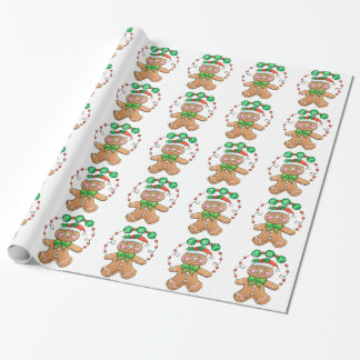 Cute Gingerbread man, Christmas Cookie Joy Wrapping Paper