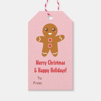 Cute Gingerbread Man Christmas Pink Gift Tags