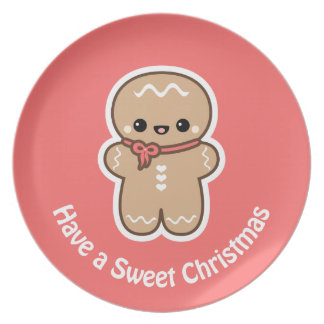 Cute Gingerbread Man Christmas Plate
