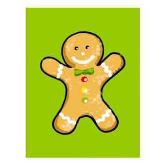 Cute gingerbread man cookie postcard