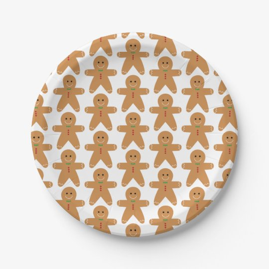 Cute Gingerbread Man Pattern 7 Inch Paper Plate