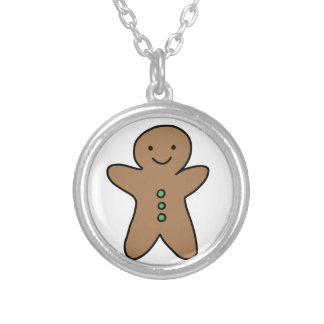 CUTE GINGERBREAD MAN SILVER PLATED NECKLACE