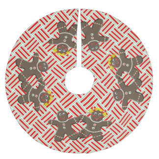 Cute Gingerbread Man & Woman Christmas Brushed Polyester Tree Skirt