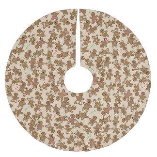 Cute Gingerbread Men Christmas Holiday Brushed Polyester Tree Skirt