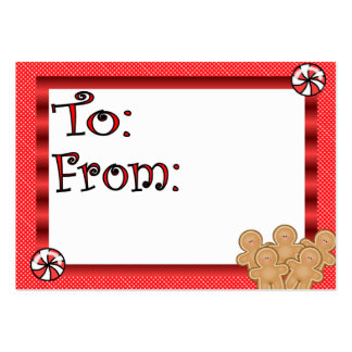 Cute Gingerbread Men Gift Tag Large Business Cards (Pack Of 100)