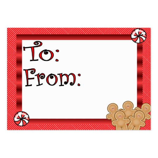 Cute Gingerbread Men Gift Tag Pack Of Chubby Business