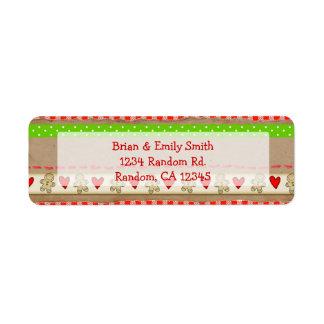 Cute gingerbread pattern return address labels