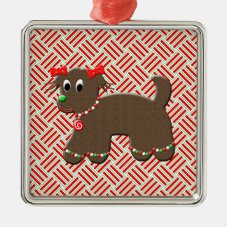 Cute Gingerbread Puppy Dog Christmas Silver-Colored Square Ornament