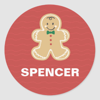 Cute Gingerbread Red Name Stickers