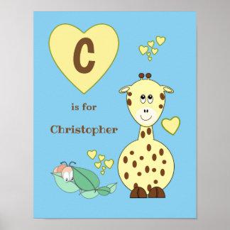 Cute Giraffe alphabet name blue yellow Nursery Poster