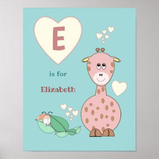 Cute Giraffe alphabet name pink green Nursery Poster
