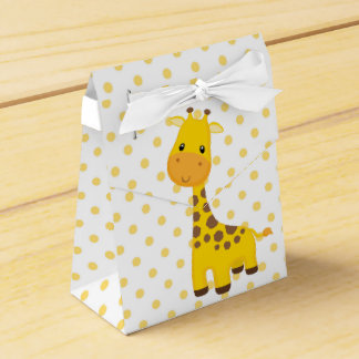Cute Giraffe and Yellow Dots Wedding Favor Boxes