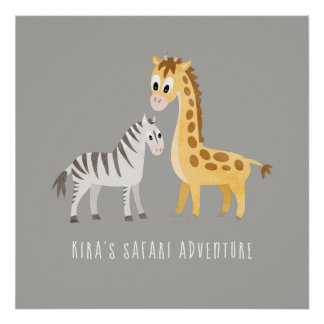 Cute Giraffe and Zebra Wild Animal Poster