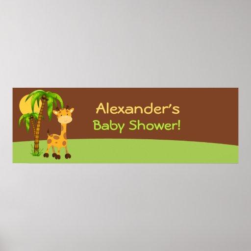 Cute Giraffe Baby Shower Banner Poster