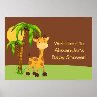 Cute Giraffe Baby Shower Poster