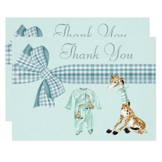 Cute Giraffe Blue Boy Baby Shower Thank You Card