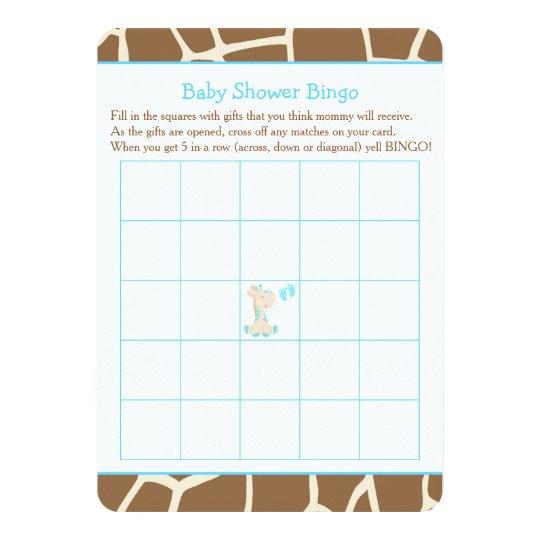 Cute Giraffe Boy Blue Baby Shower Bingo Card