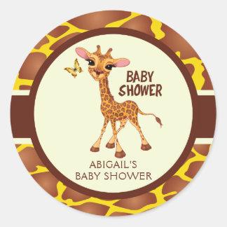 Cute Giraffe & Butterfly, Baby Shower Round Sticker