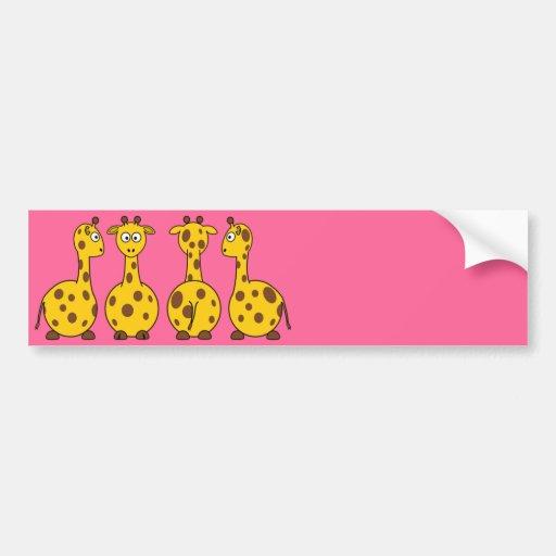 Cute Giraffe Cartoon Bumper Stickers