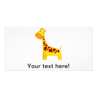 Cute giraffe cartoon photo cards
