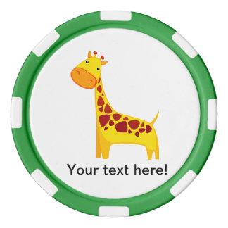 Cute giraffe cartoon poker chips set