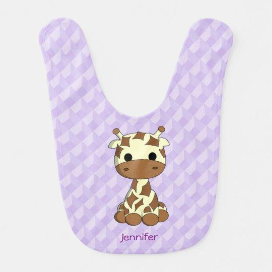 Cute giraffe cartoon purple name baby bib