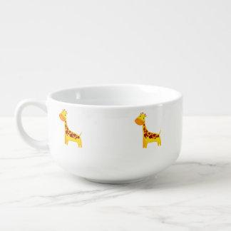 Cute giraffe cartoon soup mug