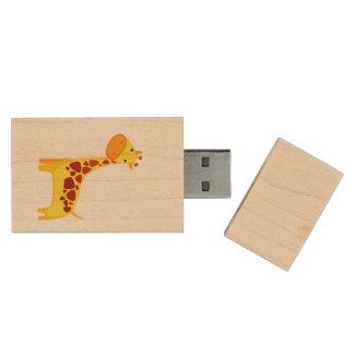 Cute giraffe cartoon wood USB 2.0 flash drive