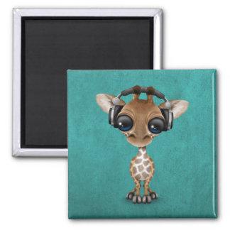Cute Giraffe Cub Dj Wearing Headphones on Blue Square Magnet