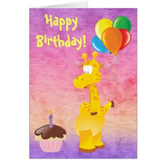Cute Giraffe, Cupcake & Balloons Happy Birthday Greeting Card