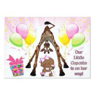 Cute Giraffe Ethnic Baby Girl Cupcakes Baby Shower Card