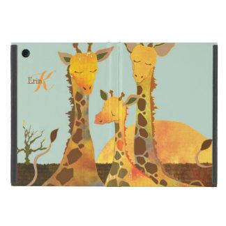 Cute Giraffe Family Monogram Powis iPad Mini Cases