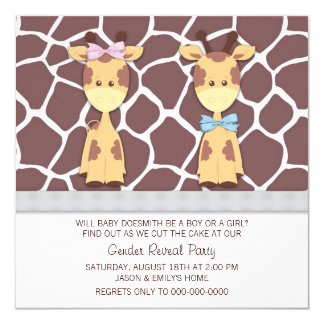 "Cute Giraffe Gender Reveal Party 5.25"" Square Invitation Card"