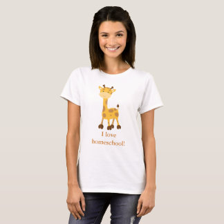 Cute Giraffe I love homeschool T-Shirt