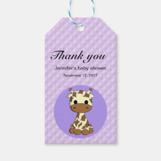 Cute giraffe kawaii cartoon baby shower thank you gift tags