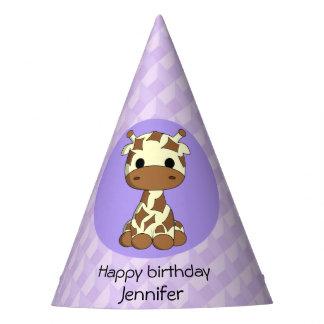 Cute giraffe kawaii cartoon kids birthday party hat