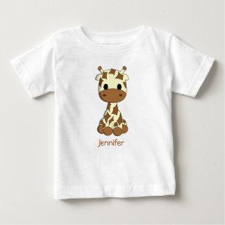 Cute giraffe kawaii cartoon name baby shirt
