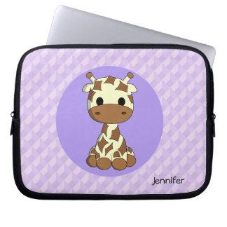Cute giraffe kawaii cartoon name girls computer sleeves