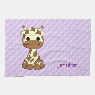 Cute giraffe kawaii cartoon name kitchen towel
