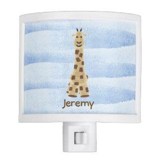 Cute Giraffe Nursery Night Light with blue